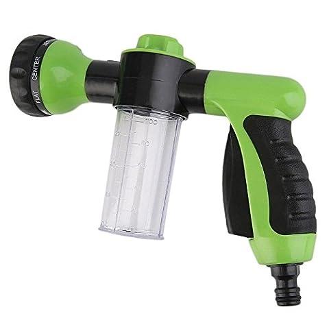 Pawaca Multifunctional High Pressure Foam Water Spray Gun - Garden Hose Nozzle Hand Sprayer, Heavy Duty 8 Pattern Metal Watering Nozzle - Flow Control Setting Knob - Designed for Car Washing, Garden/Lawn Watering, Home Cleaning, Pets Washing