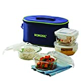 #4: Borosil Klip-N-Store Glass Lunch Box Set with Bag, 4-Pieces, Blue