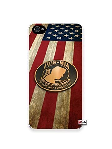 Pow MIA Prisoner Of War American Flag Apple Iphone 4 Quality TPU Soft Rubber Case for Iphone 4/4s - AT&T Sprint Verizon - White Case by