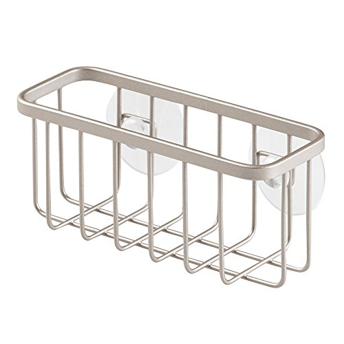 InterDesign Gia Caddy, Dish Sponge Holder, Essential Kitchen Sink Organiser, Metal, Matte Silver