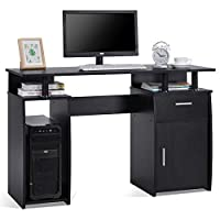 Lv. life Computer Desk with Shelve and Cabinet PC Computer Table Workstation,Black
