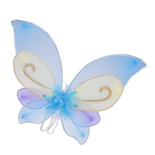 Magideal ali di angelo fantasma diavolo farfalla accessori di bambini costume per festa di halloween - bianco azzurra, 46 x 40cm