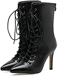 10cm Stiletto Scarpin Tall Bootie Bondage Knight Boot Femmes Belle Pointe Toe Shoelace Chaussures creuses Chaussures Chaussures Chaussures Eu Taille 34-40