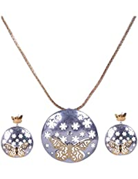 Pushti Gold Brass Pendant Set For Women (PF_012)