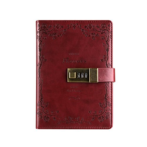 PHILNA12 retro PU leather Business Journal writing notebook con password Lock (vino rosso)