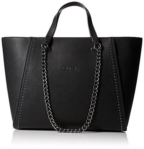 Guess Women's Nikki Chain Tote Plus Handbag, Black (Onyx), One Size