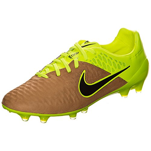 Nike Magista Opus Lthr Fg, Chaussures de Foot Homme Multicolore - Dorado / Negro / Verde (Canvas/Black-Volt)