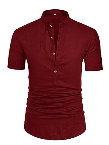 LILBETTER Mens Henley Neck Short Sleeve Collar Daily Look Linen Shirts (S,M,L,XL,2XL,Black) (Chest 51.7''(Label XL), Wine