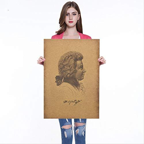 Berühmte Musiker Komponist Wolfgang Amadeus Mozart Kraftpapier Cafe Bar Poster Retro Poster Dekorative Malerei Wandaufkleber