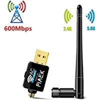 Wifi Dongle - PiAEK 600mbps Dual Band 5G/433Mbps + 2.4G/150Mbps Portable Antenna Usb Wireless Wifi Adapter Network Wlan Card for Windows XP/Vista/7/8/10 MAC … (600Mbps)