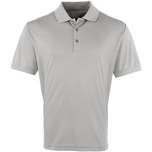 Premier Mens Coolchecker Pique Polo Shirt Silver*