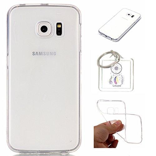 Preisvergleich Produktbild Hülle Galaxy S6 Edge ( 5,1 Zoll ) Hülle Soft Flex Transparent Silikon TPU Handyhülle Schutzhülle für Samsung Galaxy S6 Edge ( 5,1 Zoll ) Case Cover - Crystal Clear + Schlüsselanhänger (P) (1)