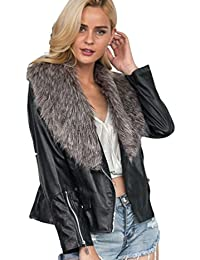 hot sale online a0c66 080bd Amazon.it: Giacca Pelle Donna Pelliccia - Giacche / Giacche ...