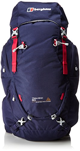 berghaus trailhead 60 women's rucksack, 60 l - carbon/jet black/tile blue