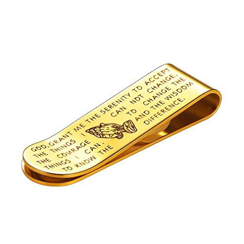 FaithHeart Scheinklammer Gelb Clip Unisex Geldhalter-Geld-Clamp Gold graviert Heiliges Kapitel Anlaufgeschützt Vergoldet (Heiligen Armband Die Katholischen)