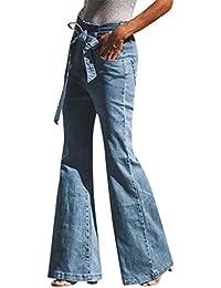 Sayla Vaqueros Mujer Push Up Tejanos Sexy Moda Casual Cintura Alta Cintura EláStica MáS Bolsillos Sueltos Denim Bow Cargo Pantalones Boot Cut Jeans