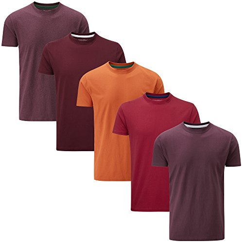 Xx Large Red T-shirt (Charles Wilson 5er Packung Einfarbige T-Shirts mit Rundhalsausschnitt (XX-Large, Mixed Red))