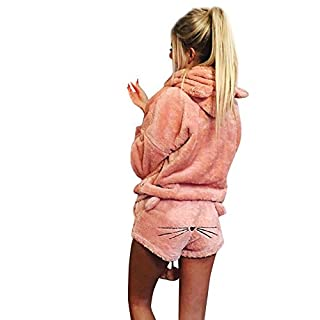 Anglewolf Women Solid Color Warm Thicker Winter Set Two Piece Cute Cat Pajamas Hoodie Sleepwear Nightwear Nightdress Nighties Nightgown Sleepshirt Nighty Negligee Bodysuit Chemise(Pink,M)