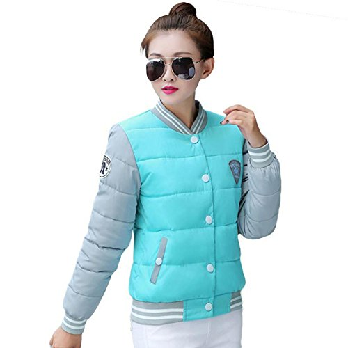 ZEARO Damen Winterjacke Korean Fashion Warme Baumwolle Jacken Wintermantel Parka Himmel-Blau