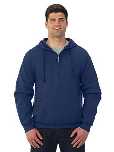 Adult 8 oz. NuBlend� Fleece Quarter-Zip Pullover Hood J NAVY 3XL -