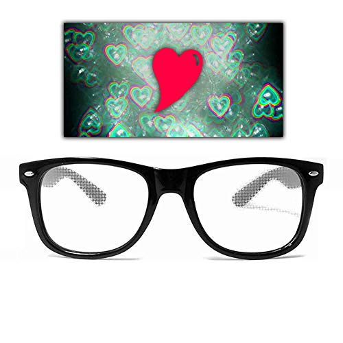 GloFX Beugung Gläser Herz Effekt Objektiv-Schwarz-Rave 3D PRISMA EDM Regenbogen Festival Kaleidoskop Feuerwerk sehen Herzen