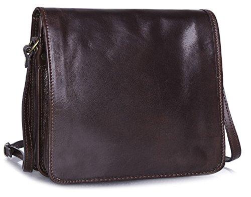 Shop borsa Size borsetta da Coffee tracolla tracolla in pelle vera Big lavoro uomo a Medium ufficio UdvqnCw