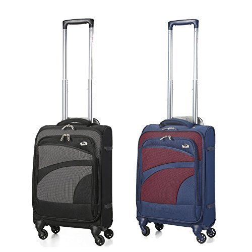 Aerolite 21″ 55cm Super Lightweight 4 Wheel Spinner Carry On Cabin Hand Luggage Suitcase Travel Trolley Flight Bag Case (21″ Set of 2, Black + Navy)