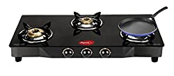 Pigeon Grand 3 Brass Burner Glasstop Stove with Free Pigeon Tawa 250mm Worth Rs 745