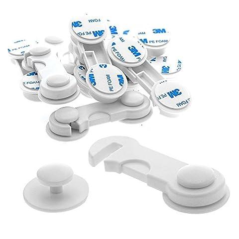 JZK® 10 x Meuble réfrigérateur tiroir armoires porte magnétique serrure verrou fermoirs de sécurité pour enfant / bébé / chien / chat, avec adhésif