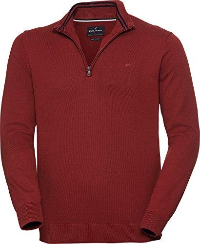 Daniel Hechter Herren Zipper-Pullover in Rot, eleganter Strickpullover mit Troyer-Kragen, aus reiner Baumwolle, Gr. 48 – 60