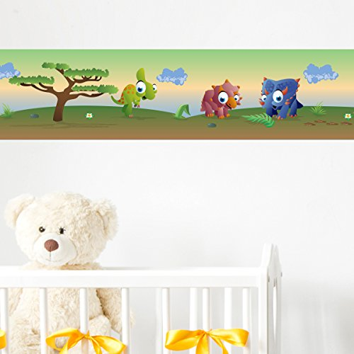 Preisvergleich Produktbild Wandkings Bordüre - Wähle ein Motiv - Bunte Dinos - 3x selbstklebende Wandbordüren je 150 cm - Gesamtlänge: 450 cm - Höhe: 12,5 cm