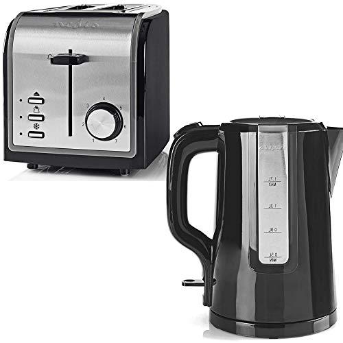 TronicXL Frühstück Set Toaster Wasserkocher Design schwarz + Edelstahl