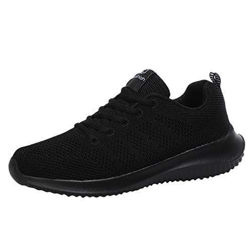DAIFINEY Damen Sneakers Walkingschuhe Leichte Atmungsaktiv Freizeitschuhe Outdoor Gym Bequem Turnschuhe Laufschuhe Sportschuhe Wanderschuhe Mesh-Bequeme Schuhe(Schwarz/Black,34.5)