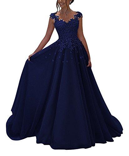 Lovelybride Prinzessin Ärmellos Abendkleid Lange mit Appliques Spitze Party Kleid