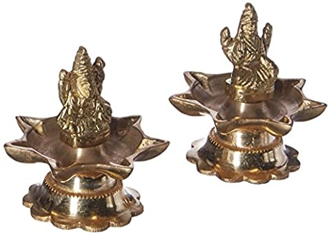 Statue Hochzeit - pairof ganesha und Göttin Lakshmi Figuren-Set - handgemachte Messingskulptur - 7.6 x 7.6 x 7.6 (Golfer Bronze Garten-statue)