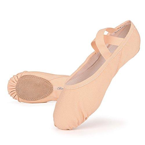 Filles Femme Demi Pointe Toile Chaussures de Ballet doux Chaussons de Danse pour Gym Yoga Danse, Rose ,26 EU