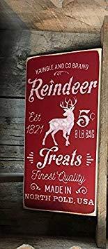 ngel und Co Marke Rentier behandelt Feinste Qualität Made in North Pole USA Bemalt Holzschild 15?x 30?cm Zitat Schild CB 666442 ()