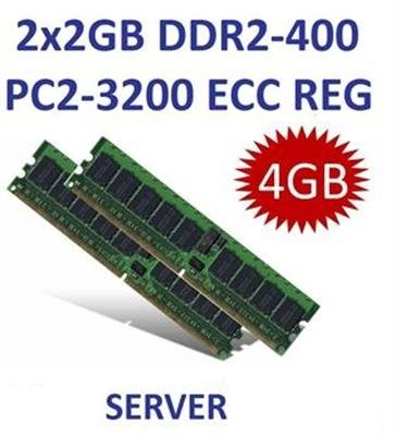 Dual Channel Kit: 2 x 2 GB = 4GB 240 pin DDR2-400 ECC Registered DIMM (400Mhz, PC2-4200R, CL3, 1.8V, Single Rank, 18x 256Mx4) entspricht HP Teilenummer 343057-B21 - DELL 310-4987 - IBM FRU 73P4792, 39M5815, (2x) 39M5814, 73P4793 - FUJITSU SIEMENS S26361-F3072-L523 - Pc2 3200 Ecc Registered-speicher