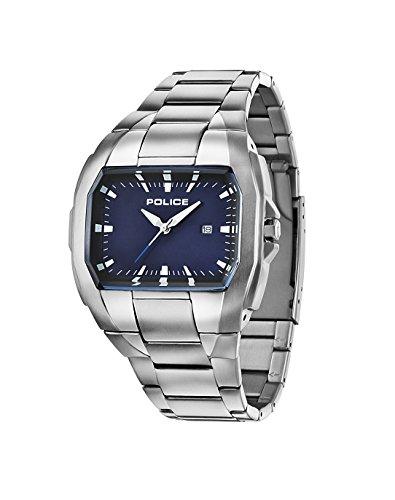 Police PL.94181AEU/03M - Reloj de cuarzo para hombres con esfera azul y correa plateada de acero inoxidable