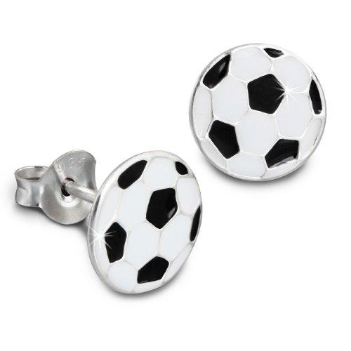 Teenie-Weenie Ohrringe für Kinder 925 Silber Ohrstecker Fußball weiße SDO8114S