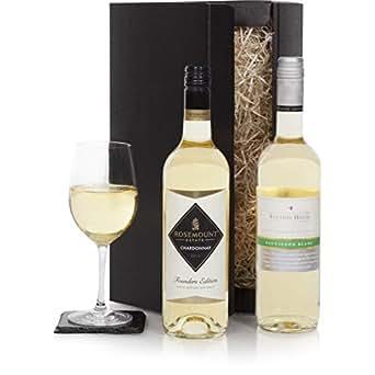 Präsentkorb mit zwei Flaschen australischem Weißwein - Wein-Geschenk-Duo aus Australien