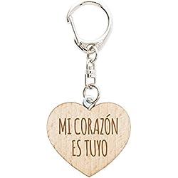 Llavero De Madera Con Forma De Corazón – Con Grabado – Mi Corazón Es Tuyo – Regalo de Amor Para Novios y Novias – Regalos De San Valentín – Accesorio