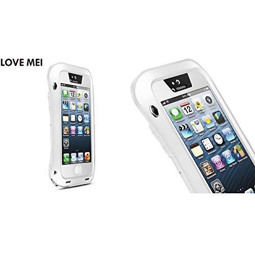 Love Mei Aluminium Legierung Metall Shock/Wasser Proof Gorilla Glas Schutzhülle für Apple iPhone 55S 5G All White