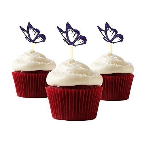e Topper 12Stücke Pro Pack Cupcake Topper Dekoration Karte Lager Lila ()