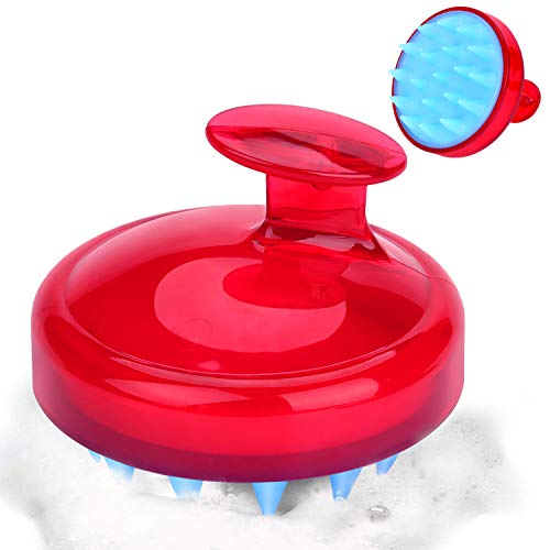 Massaggiatore cuoio capelluto, spazzola per capelli per shampoo e massaggio testa, morbide setole in silicone per cura del capelli, esfoliante e forfora (rosso)