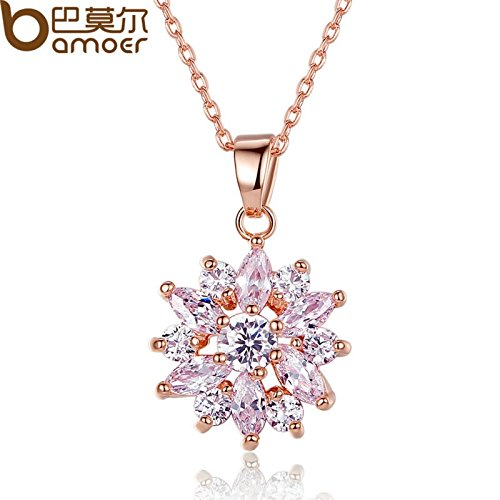 BAMOER Snowflake Series 18k White Gold Plated AAA Clear Cubic Zirconia Pendant Necklace