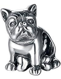 BullDog encanto–cachorro perro Bead Charm–plata de ley 925perro encanto para adaptarse a Trollbeads pulsera