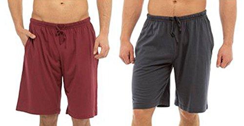 Tom Franks Pyjamahose 2 Stück Lounge Hose), Jersey-Baumwolle rot dunkelgrau