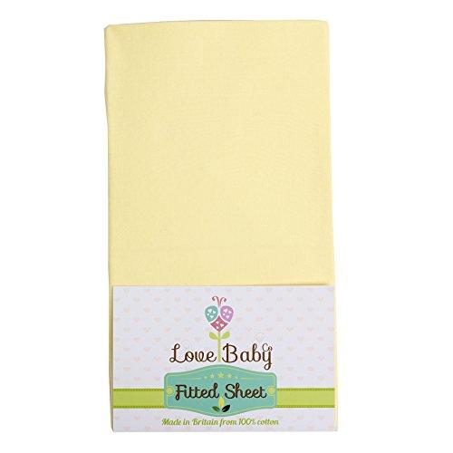 Preisvergleich Produktbild Spannbetttuch Kinderbett Chicco next2me Nachttisch Kinderbett 100% Baumwolle (gelb)