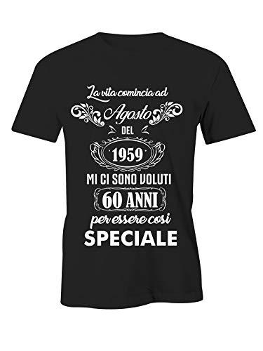 Puzzletee t-shirt compleanno agosto - la vita comincia a agosto del 1960 mi ci sono voluti 60 anni per essere così speciale - magliette simpatiche e divertenti - idea regalo